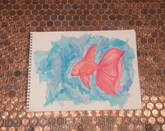 """Gold Fish - Ink Painting - 9"""" x 12"""""""