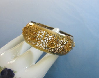 Gold Tone Filigree Buddha Hinged Bangle Bracelet