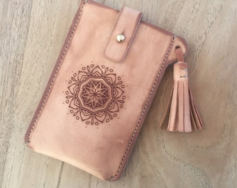 Boho Tasseled Leather Phone and card Case