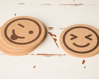 Cool Coasters - Emoji Icon Cork Coasters Gifts