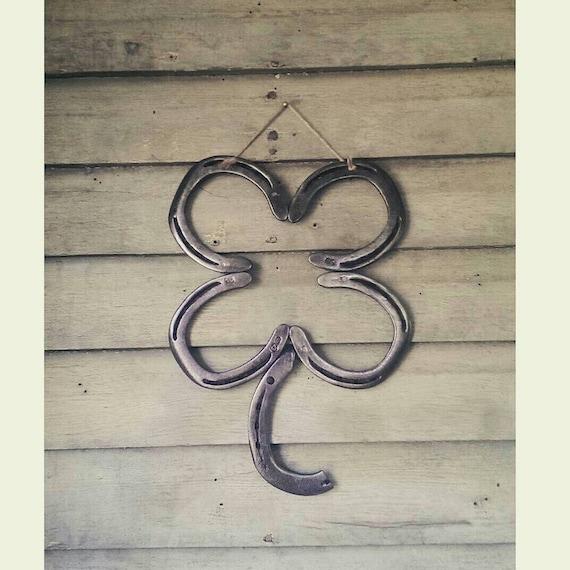 Country Home Decor Horse Decor Irish Horseshoe Clover Metal