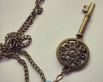 Antique-Bronze & Periwinkle Key Necklace