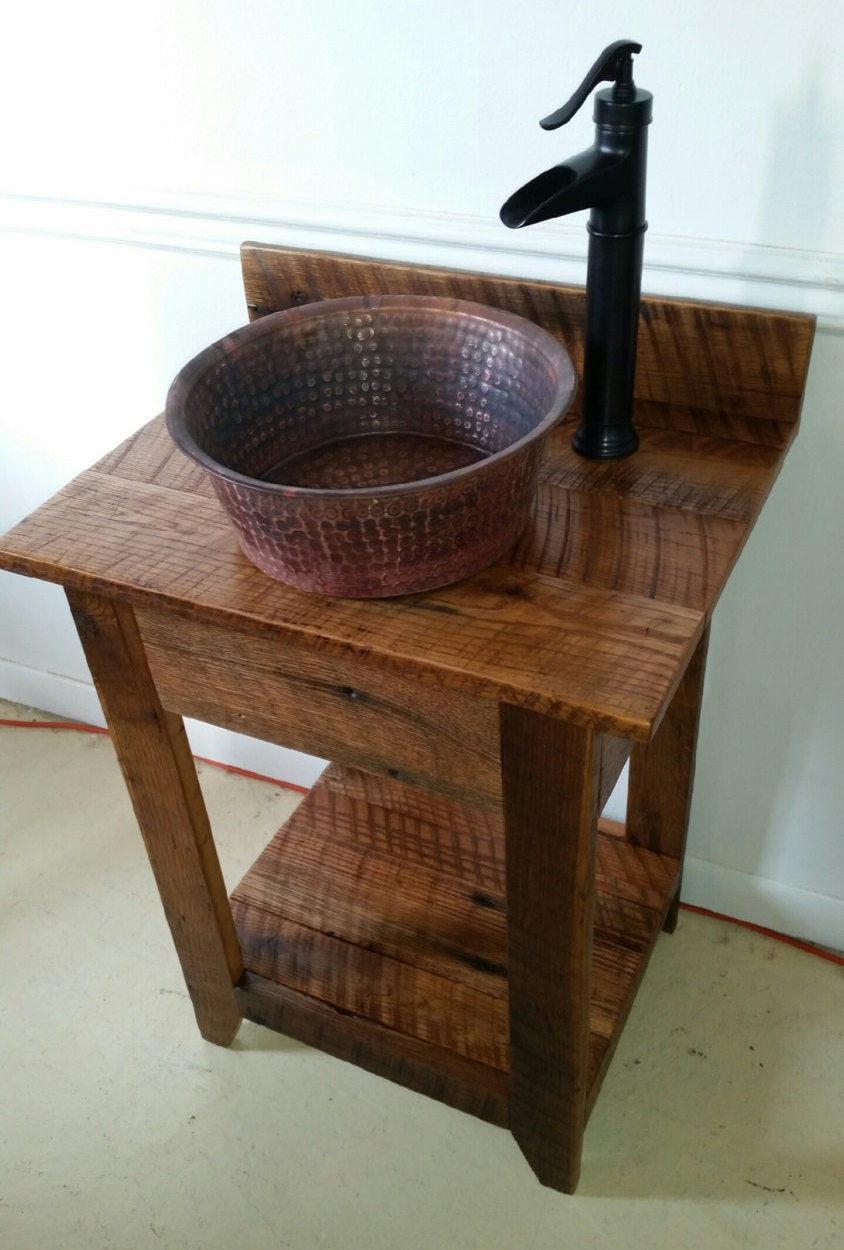 Rustic Barn Wood Mini Vanity With Hammered Copper By Oaktreecg