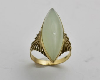 Jade Ring Gemstone Ring 10K Yellow Gold Gemstone Jewelry