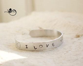 "Personalized Bracelet-""I love you"" - aluminium/ Hand Stamped Cuff Bracelet/ Custom Bangle"