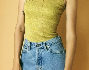 1980's Gold Lurex Scoop Back Tank Top