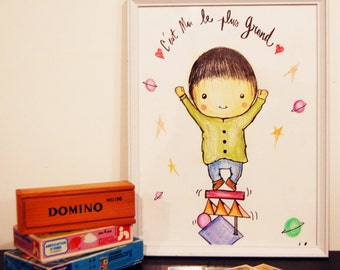 "Illustration child ""Little boy"" / room/reprography and original Decoration"