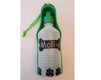 Personalized Pet Travel Water Bottle with Attached Drinking Bowl- Green (Small-10oz)