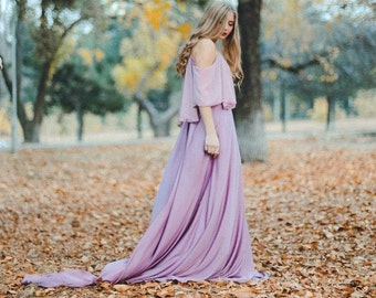 Non-traditional wedding dress \ Dusty lavender colored bridal gown