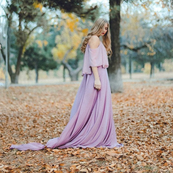 Non-traditional Wedding Dress Dusty Lavender Colored Bridal