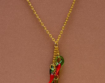 Gold HOT Chili Pepper Necklace with Glass Blown Red Peppers