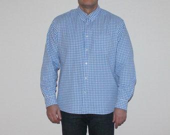 Men's Gingham Shirt Plaid Shirt Checkered Shirt Blue White Shirt Vintage Western Shirt Size Extra Large - 2XL