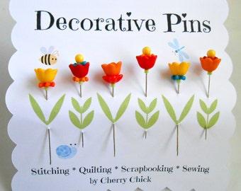 Decorative Sewing Pins - Sewing Pins - Tulip Pins - Pin Topper - Scrapbooking Pins - Bulletin Board Pins - Fancy Pins - Quilting Pins