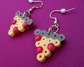 Gold Dangling Earrings with Pepperoni Pizza Perler Beads Charms