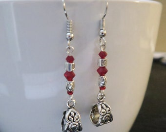 Silver & Red Earrings