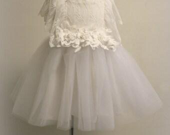 Flower Girl Dress, Off White Flower Girl Dress,Baby Dress,Toddler dress, Baptism dress, Rustic Dress,Christening dress, 1st birthday dress