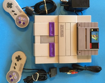 Super Nintendo Entertainment System SNES  Console Super Mario World Cleaned Test