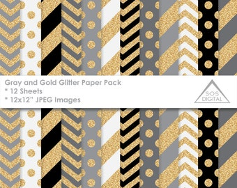 Gray and Gold Glitter Papers, Digital Glitter Paper, Black, White, Gold, Gray, stripes, polkadot, chevron, small commercial use, jpeg files