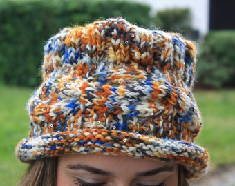 Organic Wool Handknitted Multicolored Women Hat