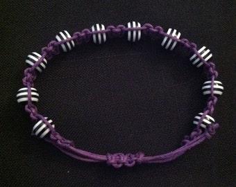 Macrame Bracelet Purple Black and White