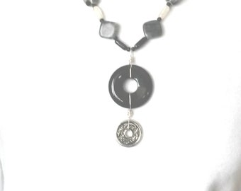 Black and Silver Donut Focals Necklace