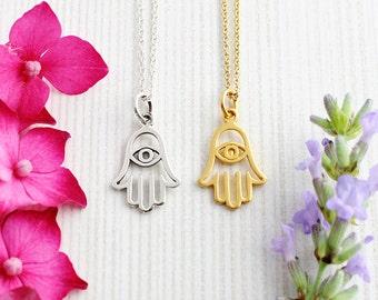 Sterling Silver Hamsa Necklace, Gold Hamsa Necklace, Hamsa Hand Pendant, Hand Necklace, Hand Pendant, Evil Eye Pendant, Spiritual Jewellery