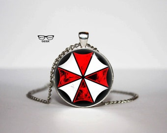 Resident Evil Necklace, Umbrella Corp pendant, Superheroes necklace, Art Gifts, for Her, for him