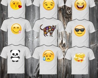 SET Emoji Smiley Faces T-shirts -Printable Emoji Smiley Faces Iron On Transfer shirts Emoji Decoration Party INSTANT DOWLOND Emoji image
