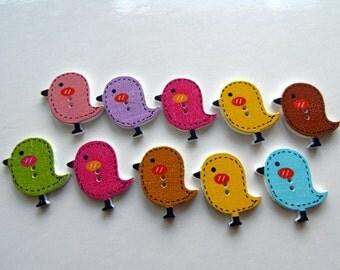 10 Bird Wooden Buttons #EB53