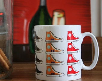 10 oz Ceramic Mug with Colourful Trainers print, Coloured Trainers Print, Printed Trainers coffee mug, Multi Coloured Trainers Coffee Mug.
