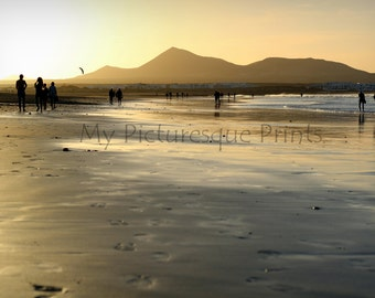 DIGITAL DOWNLOAD - Surfer dawn at the beach of Famara, Lanzarote, Canary Islands.
