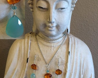 Chalcedony Amber Swarovski Crystal Earrings and Necklace