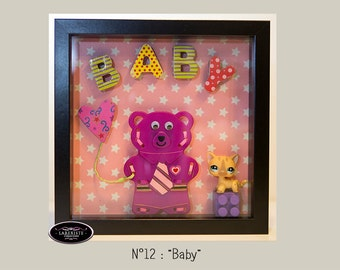 Frame Relief - Pooh & cat - pink - Baby Girl