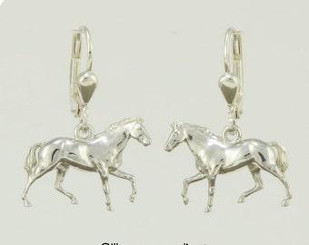 Ear pendants • horse • silver • solid & 3D • small earrings