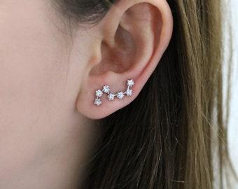 Ear Crawler, Constellation earrings, constellation ear climber, ear pins, ear climber, star ear pin, star earring, constellation ear crawler