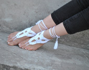 White barefoot sandals