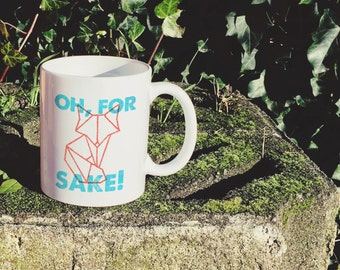 Oh, For Fox Sake: Cute Geometric Fox Letterpress Mug