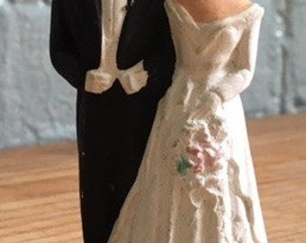 Vintage 1950's bride and groom wedding cake topper