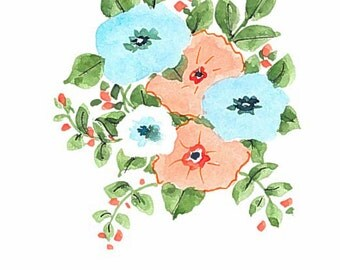 Original watercolor greeting card. Not a print. Orange and blue floral
