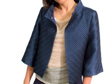 Short jacket/jacket, striped Blue/striped fabric, chic, elegant