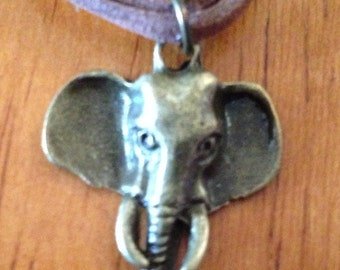 Lucky Elephant Necklace - Antiqued Bronze