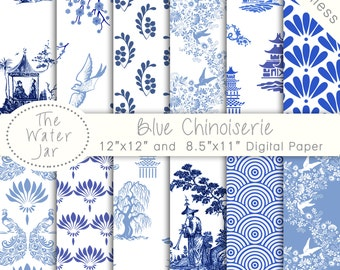 Chinoiserie Wallpaper, China Blue Digital paper pack, Commercial Use, Chinese Patterns, Seamless Pattern Designs, Blue and White