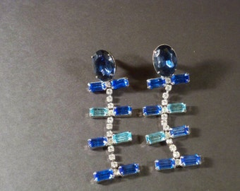 New Old Stock Vintage Clear/Blue Rhinestone Long Dangly Pierced Earrings RS79 NOS Swarovski Hollywood Glam