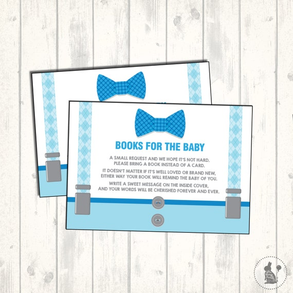 Little Man Baby Shower Invitation Insert Bring a Book Instead of a