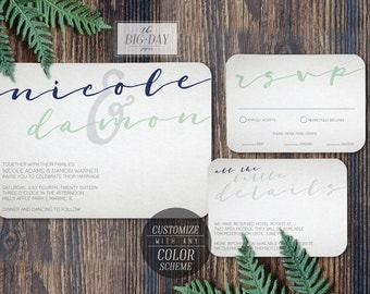 Modern Calligraphy Printable Wedding Invitation | Customized Printable Vintage Rustic Kraft Invitation