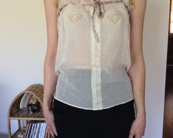 1910s-1920s Antique White Cotton Lace Trimmed Camisole - Small