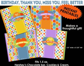 Candy Bar Wrappers-- Happy Birthday, Thank You, Feel Better, Miss You
