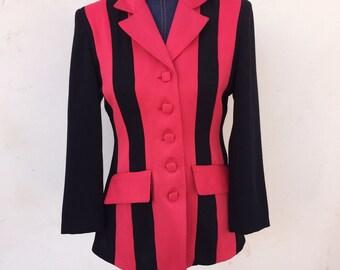 Red and Black Sassy Vintage Blazer - S/M