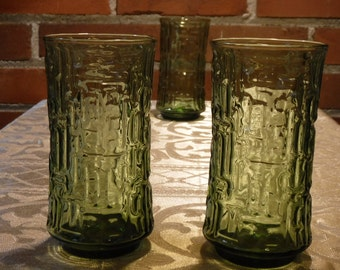 Libbey  Artica Olive Green Glassware  Vintage 1970's  Glass Tumblers   Set of 3 Retro Drinking Glasses