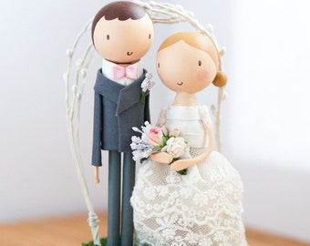 Wedding Cake Topper Wooden Rustic